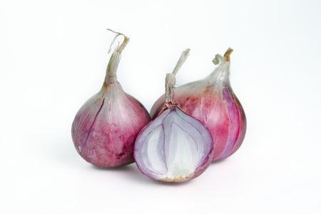 Shallot (also named as ascalonicum, Allium stipitatum, Allium fistulosum, red onion, salad onion, scallion, or salad shallot) isolated on white background