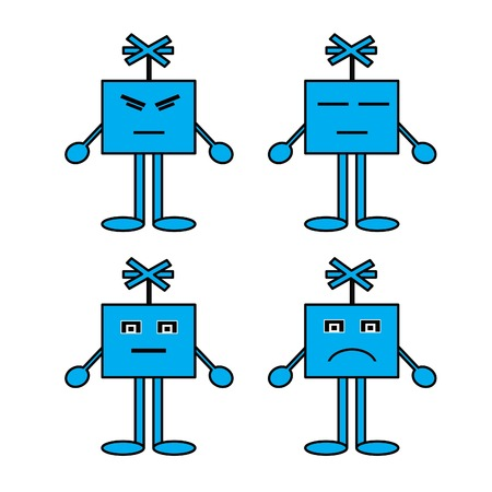 expressed: Cartoon emotions ,Blue cartoon character he was disappointed he discouraged his distress, his fatigue, he expressed his sadness depression, fatigue, aching pain. Illustration