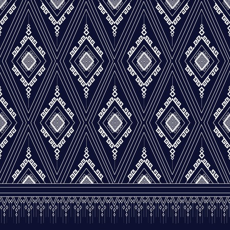 ethnic: Geometric Ethnic pattern on dark blue ,White stripes and dark blue background. Illustration