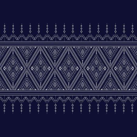 style geometric: Geometric Ethnic pattern on dark blue ,White stripes and dark blue background. Illustration