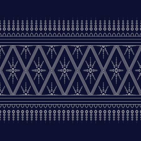 Geometric Ethnic pattern on dark blue ,White stripes and dark blue background.