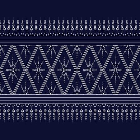 Geometric Ethnic pattern on dark blue ,White stripes and dark blue background. Illustration
