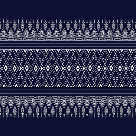 textiles: Geometric Ethnic pattern on dark blue ,White stripes and dark blue background. Illustration