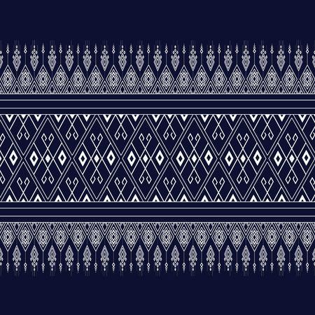 Motif ethnique géométrique bleu foncé, des rayures blanches et fond bleu foncé.