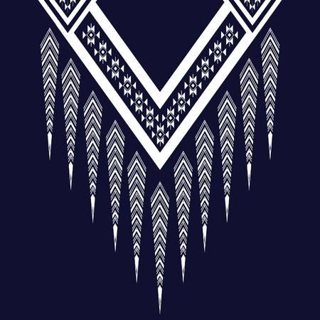 décoration tribal pour les vêtements, la broderie, imprimé ethnique pour les vêtements. Briller décoration cou impression. Imitation poitrine de broderie tribale. modèle vectoriel Triangle
