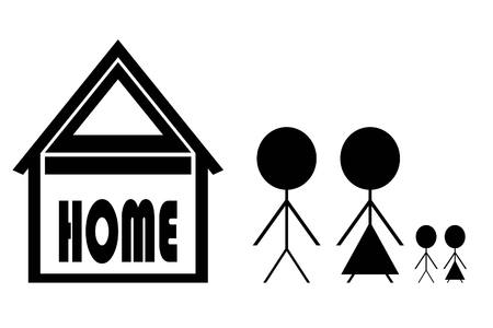 happy couple house: Family sign graphic design, vector illustration