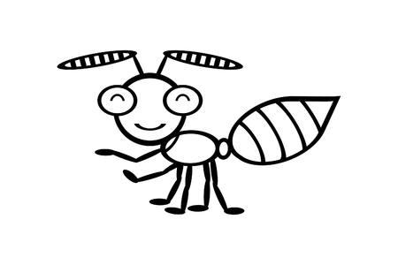 invasive: Illustration of ant cartoon on white background.