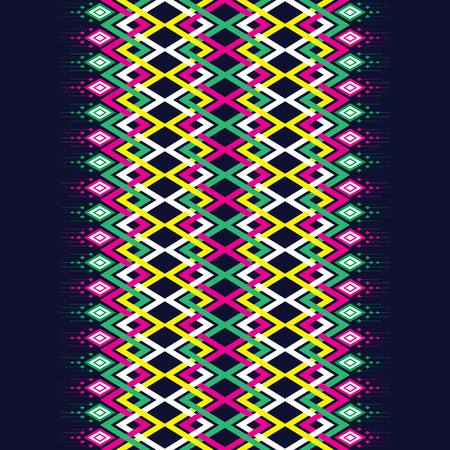 Geometric ethnic pattern traditional Design for background, carpet, wallpaper,clothing,wrapping,Batik,fabric,sarong,Vector illustration embroidery style. Illustration
