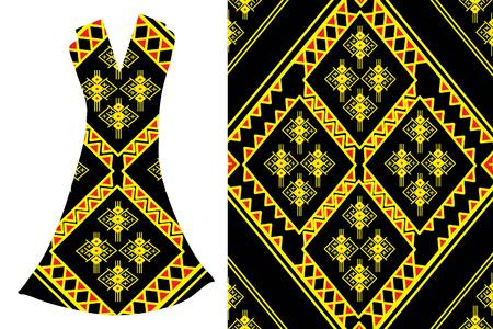 Geometric Ethnic pattern.Vector fashion illustration womens dress. Illustration