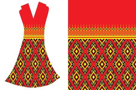 Geometric Ethnic pattern.Vector fashion illustration women's dress. Vettoriali