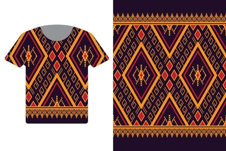 Illustration of t-shirt design template with geometric ethnic pattern. Illustration
