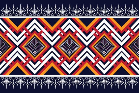 Geometric ethnic pattern traditional Design for background,carpet,wallpaper,clothing,wrapping,Batik,fabric,sarong,Vector illustration embroidery style. Ilustração