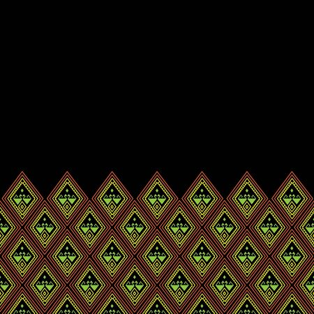 Geometric ethnic pattern traditional Design for background,carpet,wallpaper,clothing,wrapping,Batik,fabric,sarong,Vector illustration embroidery style. Иллюстрация