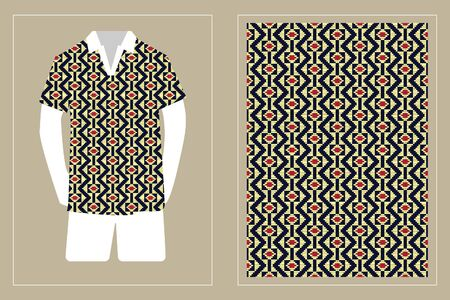 Illustration of T-Shirt Design Template with Geometric ethnic pattern traditional.