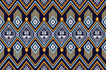 Geometric ethnic pattern traditional Design for background,carpet,wallpaper,clothing,wrapping,Batik,fabric,sarong,Vector illustration embroidery style. Vector Illustration