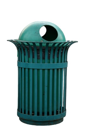 Isolated Outdoor bin in green color photo