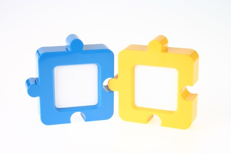Couple of Jigsaw-Shape Photo Frame in Blue and Yellow photo