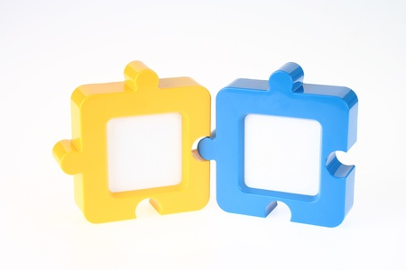 Couple of Jigsaw-Shape Photo Frame in Yellow and Blue
