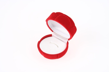 Opened Empty Red Rose Ring Box photo