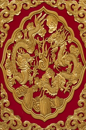 Golden Chinese Dragon on Red Background photo