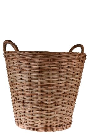 Empty Wooden Basket on White Background photo