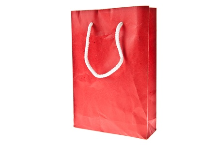 Red Crumpled paper bag isolated on white background Stock Photo - 9557156