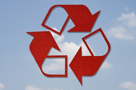 Recycled Symbol on Sky Background Stock Photo - 9558774