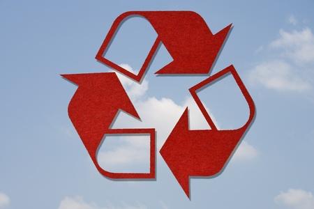 Recycled Symbol on Sky Background Stock Photo - 9558774