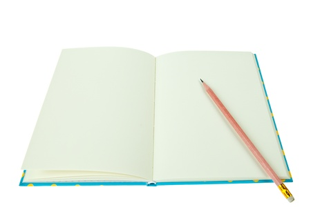 Blank notebook with pencil isolated on white background Stock Photo - 9865206