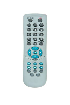 Old TV Remote Control with dust isolated on white background Stock Photo - 9860238