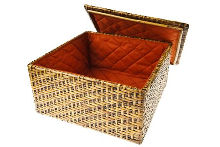 Wicker Box isolated on white background Stock Photo - 9863032
