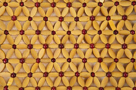 Close up beads handbag made from wood background photo