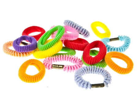 Colorful hair elastic isolated on white background photo