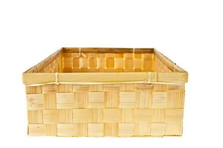 Wicker Box isolated on white background photo