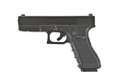 violence and trigger: Airsoft hand gun, glock model Stock Photo