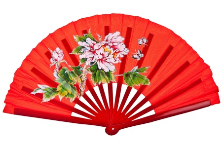 chinese fan: Red oriental chinese fan isolated on white background Stock Photo