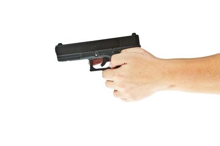 airsoft gun: Airsoft hand gun, glock model with hand aim the target