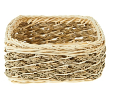 Wicker Box isolated on white background photo