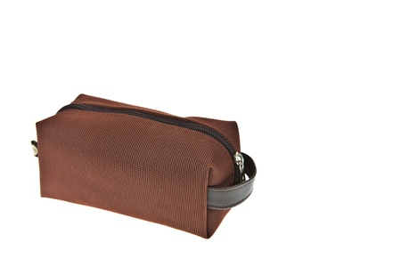 Brown travel bag isolated on white background photo