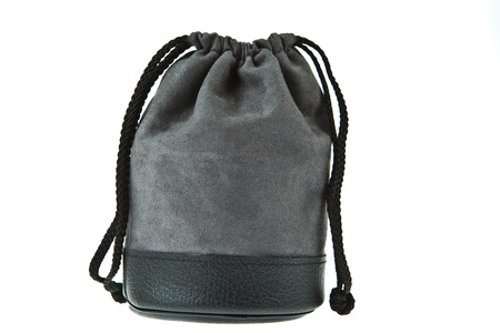 Gray velvet pouch isolated on white background Stock Photo - 9861361