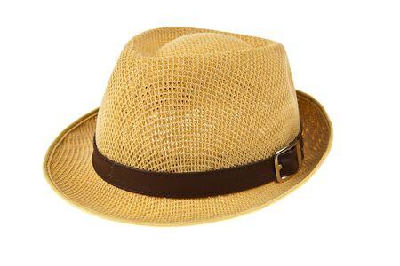 Beautiful traditional Panama hat isolated on white background photo
