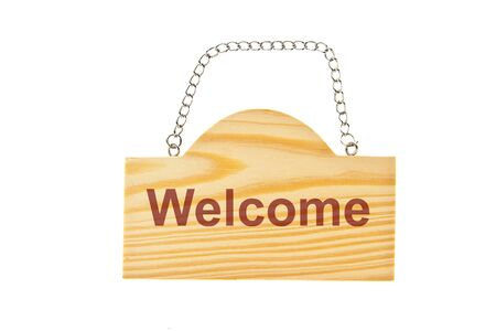 Wooden welcome sign board with holding chain isolate on white background photo