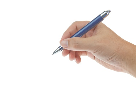 Male hand with pen isolated on white background photo