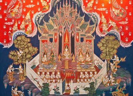タイの寺院でタイの絵画 写真素材
