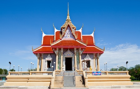 Thai temple under blue sky photo