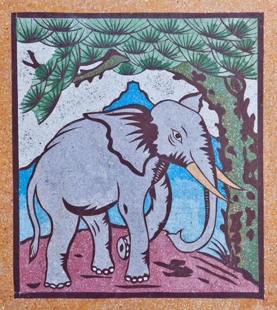 Elephant painting on a wall in Chinese temple photo