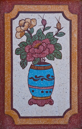 Flowers and vase painting on a wall in Chinese temple