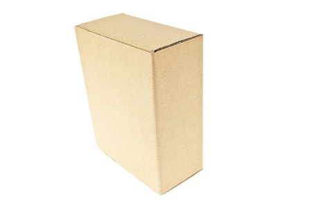 Classic brown paper box isolated on white background photo