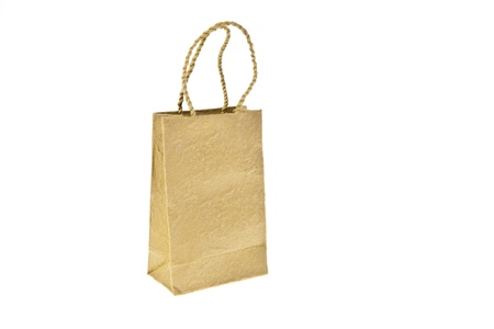 Brown mulberry paper bag isolated on white background photo