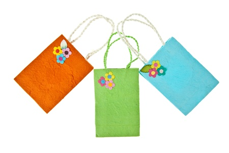 Colorful mulberry paper bag isolated on white background Stock Photo - 11009169